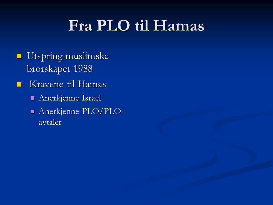 Fra PLO til Hamas Utspring muslimske brorskapet 1988 Utspring muslimske brorskapet 1988 Kravene til Hamas Kravene til Hamas Anerkjenne Israel Anerkjenne Israel Anerkjenne PLO/PLO- avtaler Anerkjenne PLO/PLO- avtaler