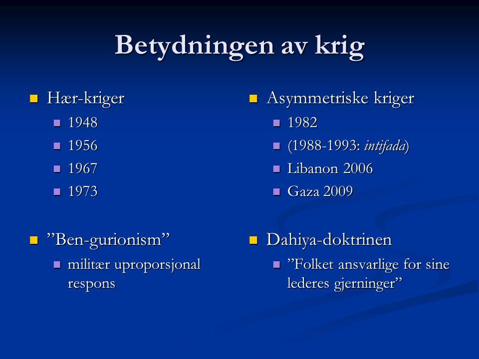 """Betydningen av krig Hær-kriger Hær-kriger 1948 1948 1956 1956 1967 1967 1973 1973 """"Ben-gurionism"""" """"Ben-gurionism"""" militær uproporsjonal respons militæ"""