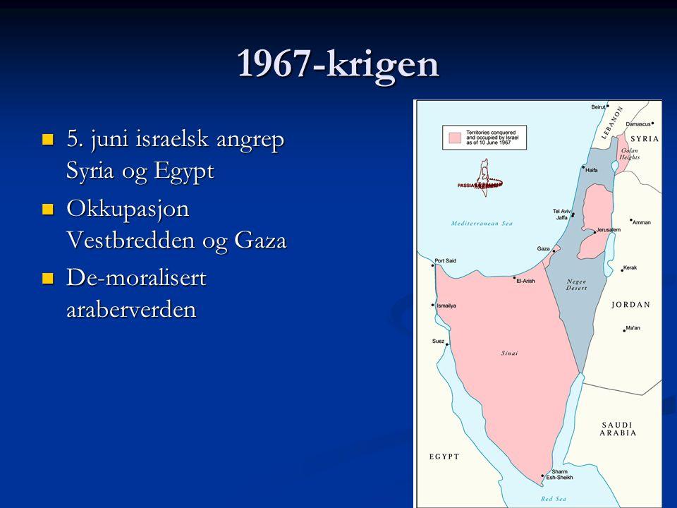 1967-krigen 5. juni israelsk angrep Syria og Egypt 5. juni israelsk angrep Syria og Egypt Okkupasjon Vestbredden og Gaza Okkupasjon Vestbredden og Gaz