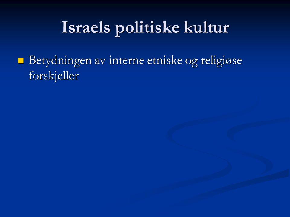 Israels politiske kultur: interne forskjeller Kadima28(29)Labor13(19) Yisrael Beitenu 15(11)Meretz3(5) Likud27(12) The Jewish Home 3 National Union 4(9)Balad3(3) Shas11(12)Hadash4(3) United Torah Judaism 5(6) United Arab List– Ta al 4(4) Lieberman er Satan Høyredreiing – hva da poenget.