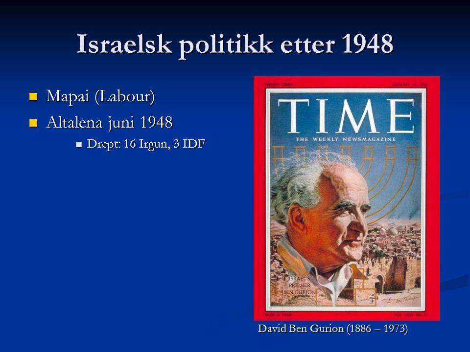 Israelsk politikk etter 1948 Mapai (Labour) Mapai (Labour) Altalena juni 1948 Altalena juni 1948 Drept: 16 Irgun, 3 IDF Drept: 16 Irgun, 3 IDF David Ben Gurion (1886 – 1973)