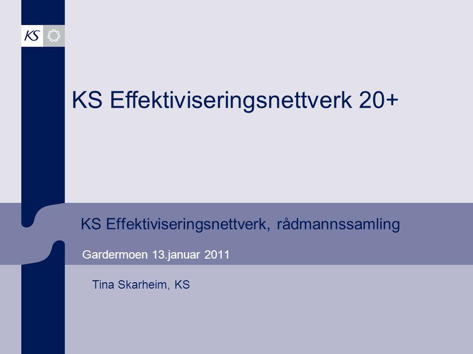 KS Effektiviseringsnettverk, rådmannssamling Gardermoen 13.januar 2011 KS Effektiviseringsnettverk 20+ Tina Skarheim, KS