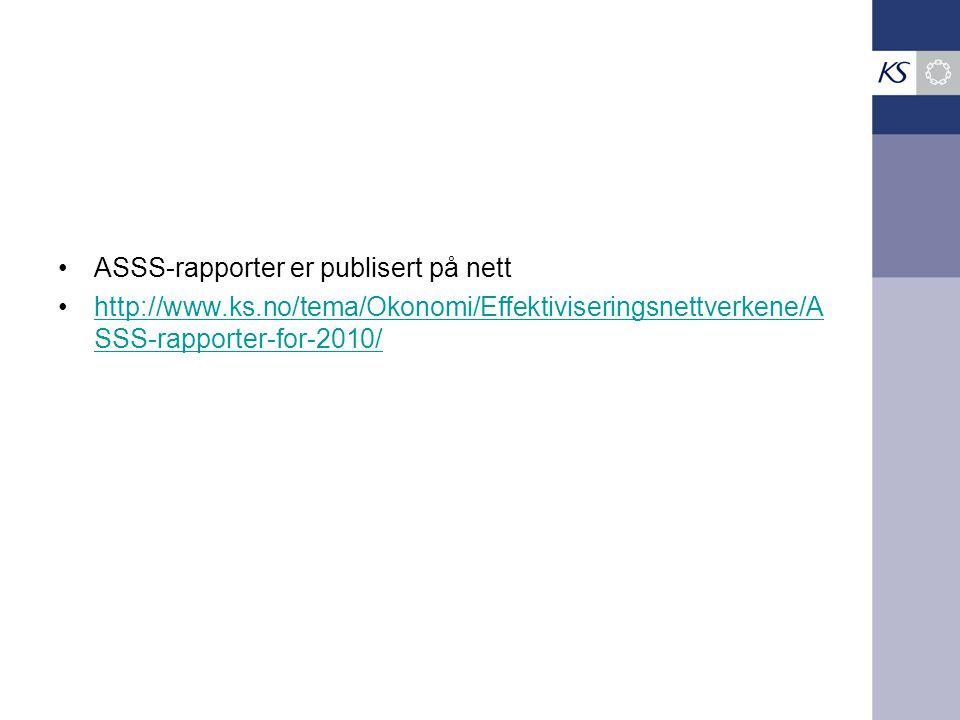 ASSS-rapporter er publisert på nett http://www.ks.no/tema/Okonomi/Effektiviseringsnettverkene/A SSS-rapporter-for-2010/http://www.ks.no/tema/Okonomi/E