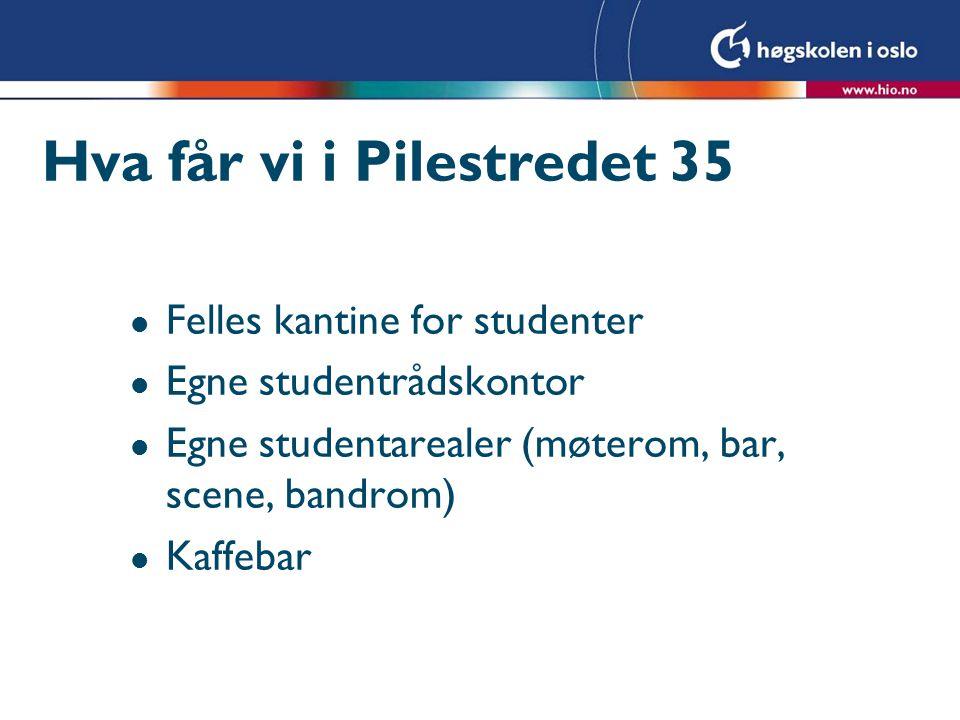 Hva får vi i Pilestredet 35 l Felles kantine for studenter l Egne studentrådskontor l Egne studentarealer (møterom, bar, scene, bandrom) l Kaffebar