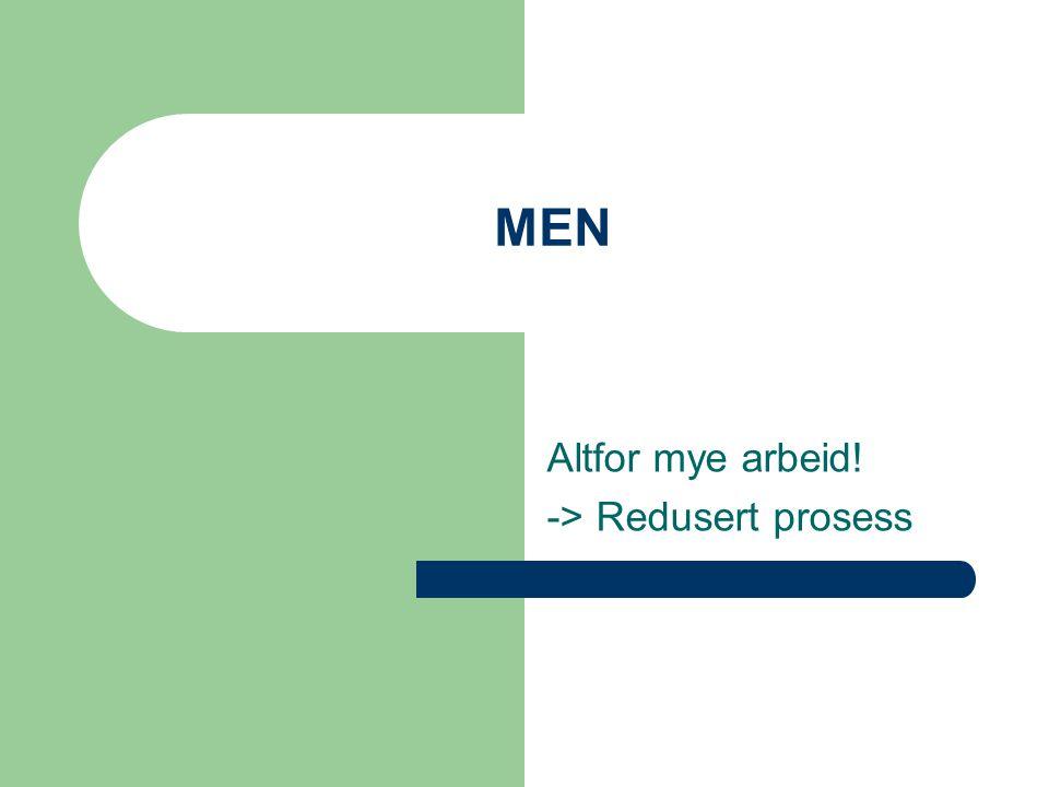 MEN Altfor mye arbeid! -> Redusert prosess