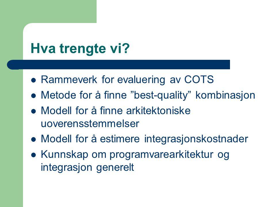 """Hva trengte vi? Rammeverk for evaluering av COTS Metode for å finne """"best-quality"""" kombinasjon Modell for å finne arkitektoniske uoverensstemmelser Mo"""