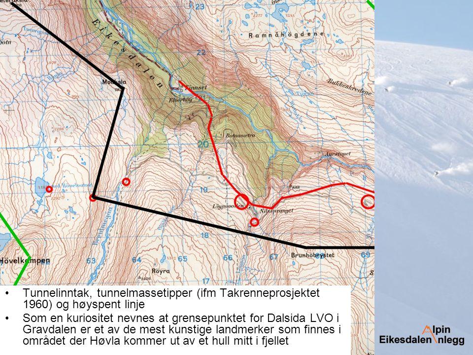 Tunnelinntak, tunnelmassetipper (ifm Takrenneprosjektet 1960) og høyspent linje Som en kuriositet nevnes at grensepunktet for Dalsida LVO i Gravdalen