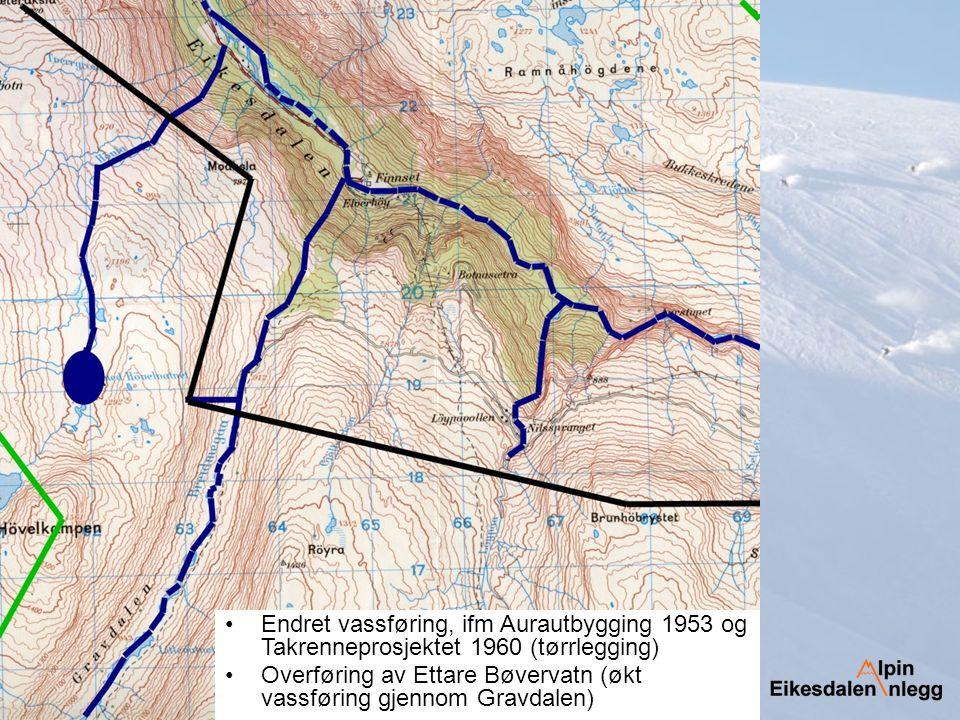 Endret vassføring, ifm Aurautbygging 1953 og Takrenneprosjektet 1960 (tørrlegging) Overføring av Ettare Bøvervatn (økt vassføring gjennom Gravdalen)