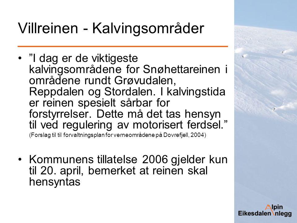 """Villreinen - Kalvingsområder """"I dag er de viktigeste kalvingsområdene for Snøhettareinen i områdene rundt Grøvudalen, Reppdalen og Stordalen. I kalvin"""