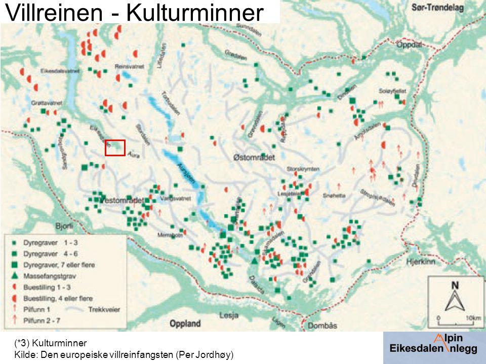 (*3) Kulturminner Kilde: Den europeiske villreinfangsten (Per Jordhøy) Villreinen - Kulturminner