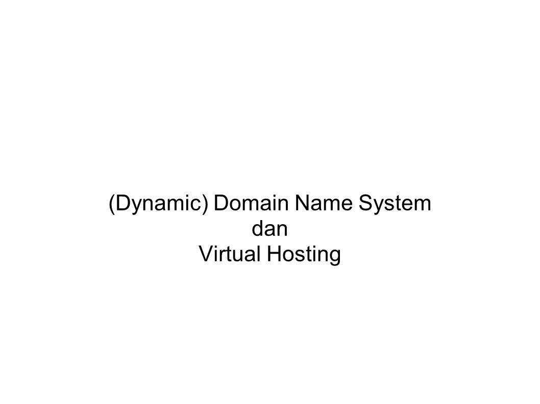 Integrasi DDNS di dhpcd # vim /etc/dhcp3/dhcpd.conf ddns-updates on; ddns-update-style interim; ddns-domainname idris.net.id ; ddns-rev-domainname in-addr.arpa ; include /etc/bind/rndc.key ; zone idris.net.id { primary 127.0.0.1; key rndc-key; } zone 108.252.10.in-addr.arpa.