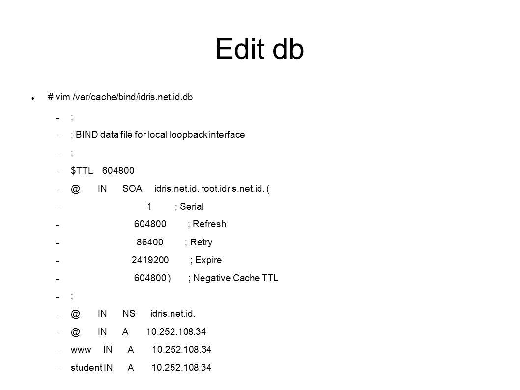 Edit Rev # vim /var/cache/bind/idris.net.id.rev  ;  ; BIND reverse data file for broadcast zone  ;  $TTL 604800  @ IN SOA idris.net.id.