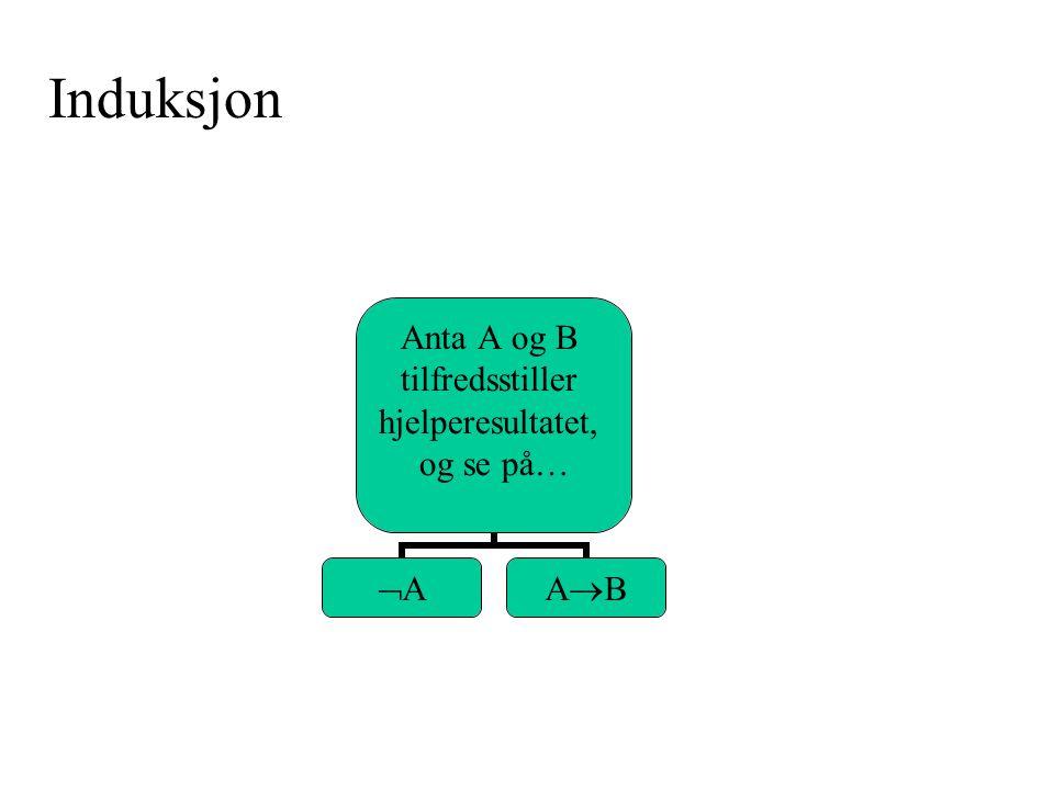 AA  A er sann A er gal Q1,…,Qn  -  A  A er gal A er sann Q1,…,Qn  - A Q1,…,Qn  -   A  - A    A  A er enten sann eller gal i linjen (i sannhetsverditabellen) som Q1,…,Qn beskriver: