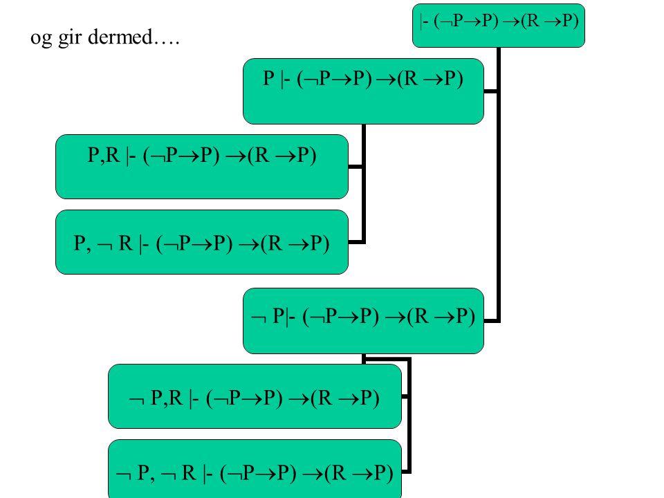 |- (  P  P)  (R  P) P |- (  P  P)  (R  P) P,R |- (  P  P)  (R  P) P,  R |- (  P  P)  (R  P)  P|- (  P  P)  (R  P)  P,R |- (  P  P)  (R  P)  P,  R |- (  P  P)  (R  P) og gir dermed….