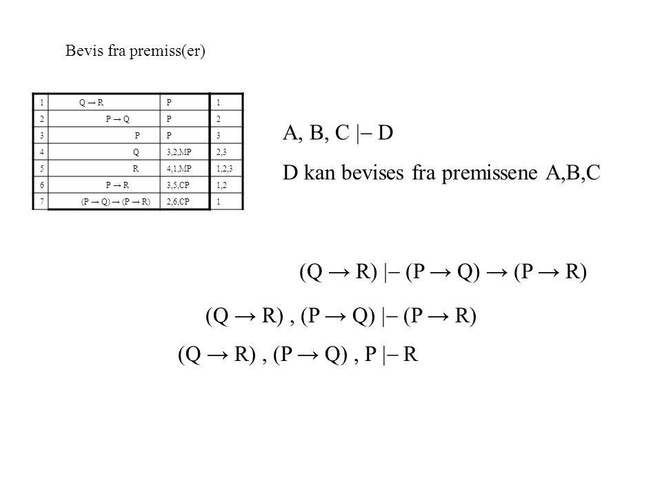 Bevis fra premiss(er) 1 Q → RP 2 P → QP 3 PP 4 Q3,2,MP 5 R4,1,MP 6 P → R3,5,CP 7 (P → Q) → (P → R)2,6,CP A, B, C  D D kan bevises fra premissene A,B,C 1 2 3 2,3 1,2,3 1,2 1 (Q → R)  (P → Q) → (P → R) (Q → R), (P → Q)  (P → R) (Q → R), (P → Q), P  R