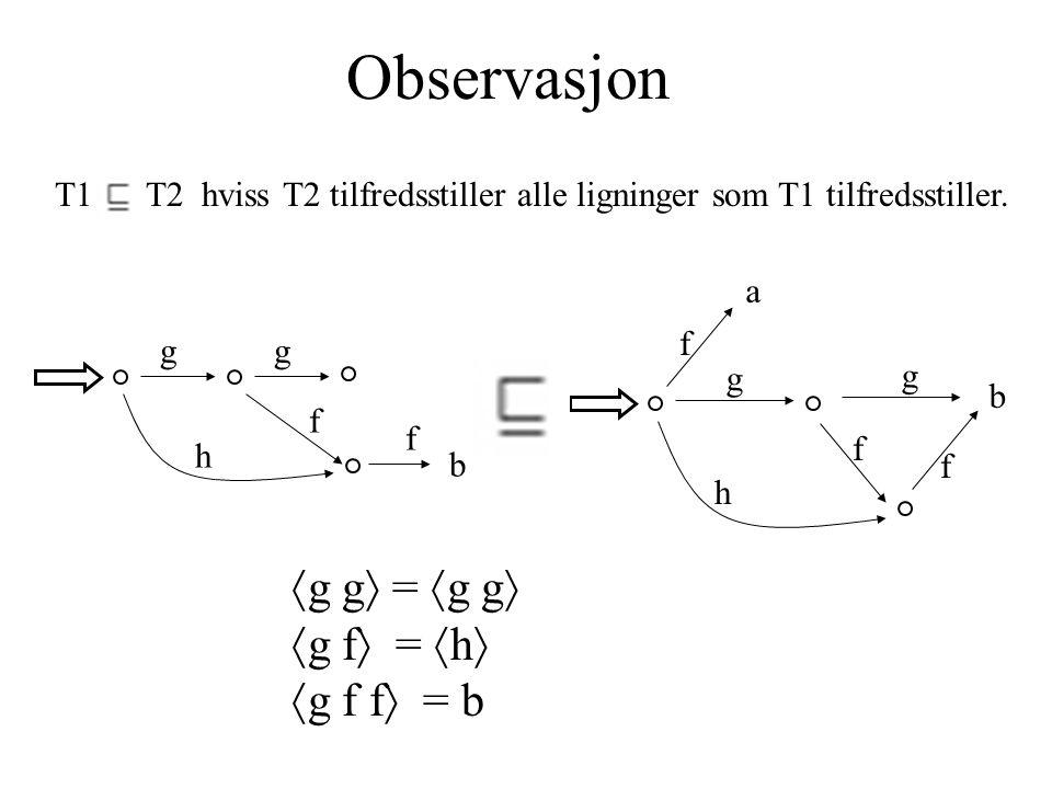 Observasjon T1 T2 hviss T2 tilfredsstiller alle ligninger som T1 tilfredsstiller.