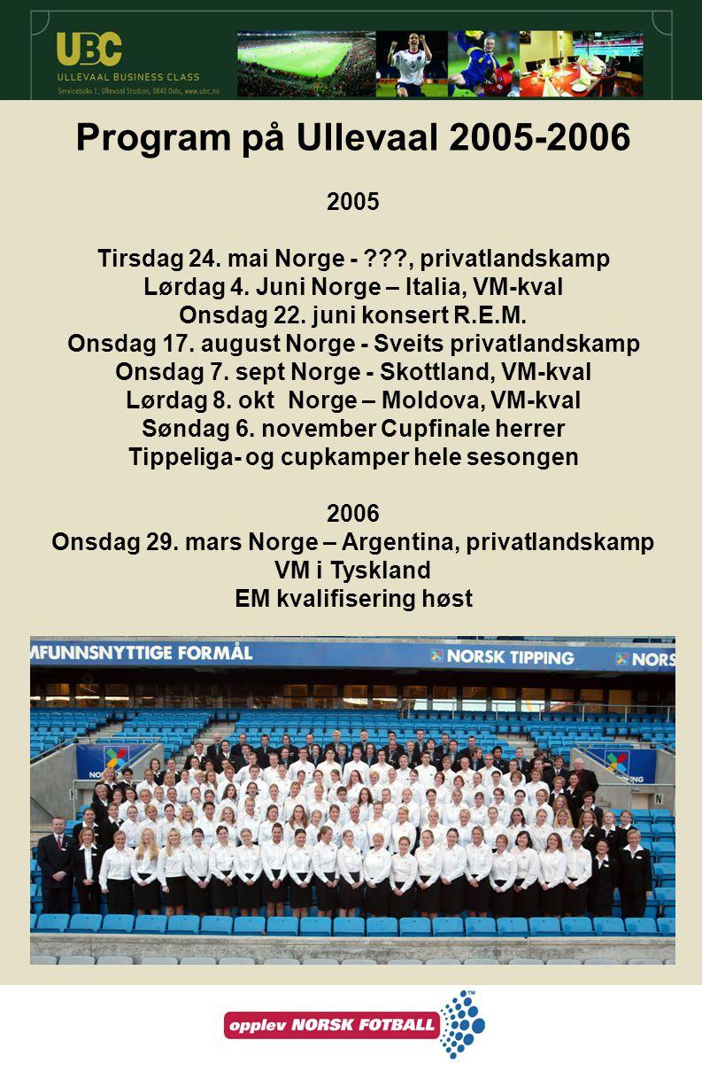 Program på Ullevaal 2005-2006 2005 Tirsdag 24. mai Norge - ???, privatlandskamp Lørdag 4. Juni Norge – Italia, VM-kval Onsdag 22. juni konsert R.E.M.