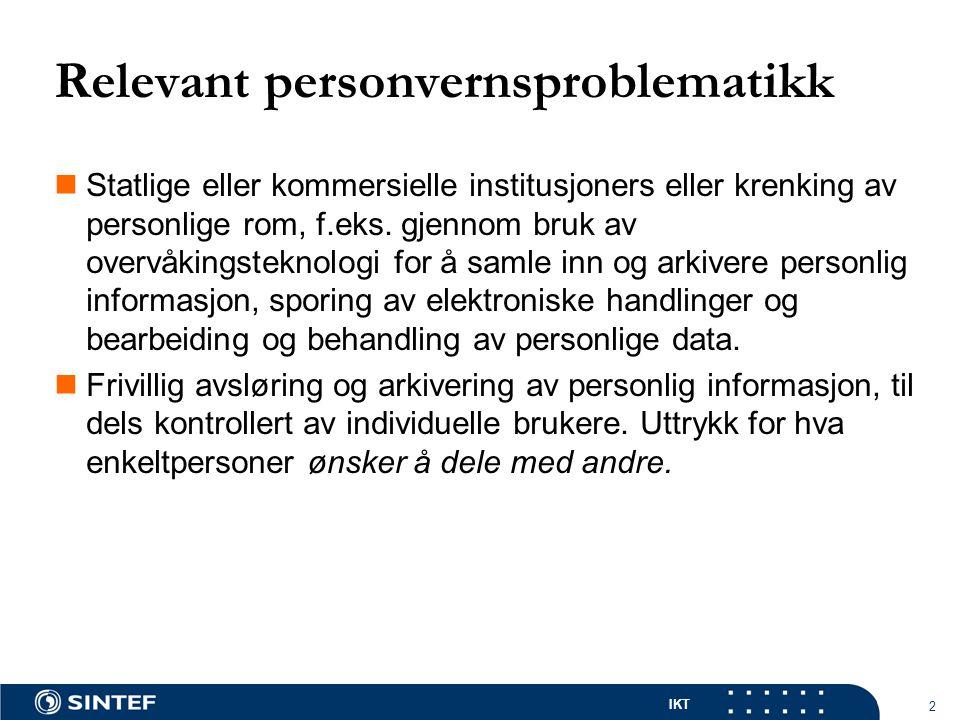 IKT 2 Relevant personvernsproblematikk Statlige eller kommersielle institusjoners eller krenking av personlige rom, f.eks.