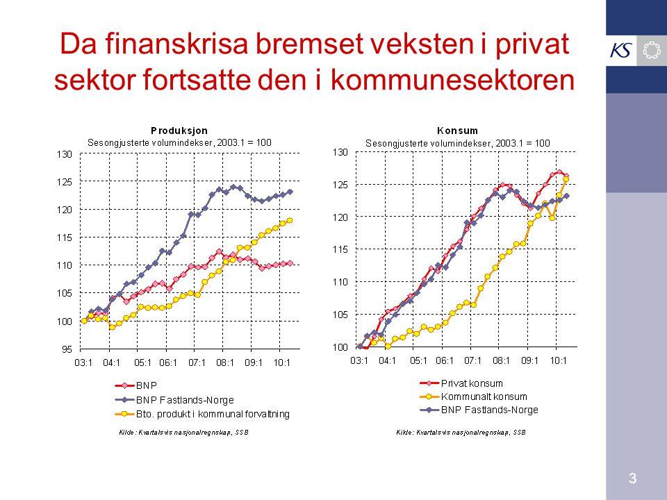 3 Da finanskrisa bremset veksten i privat sektor fortsatte den i kommunesektoren