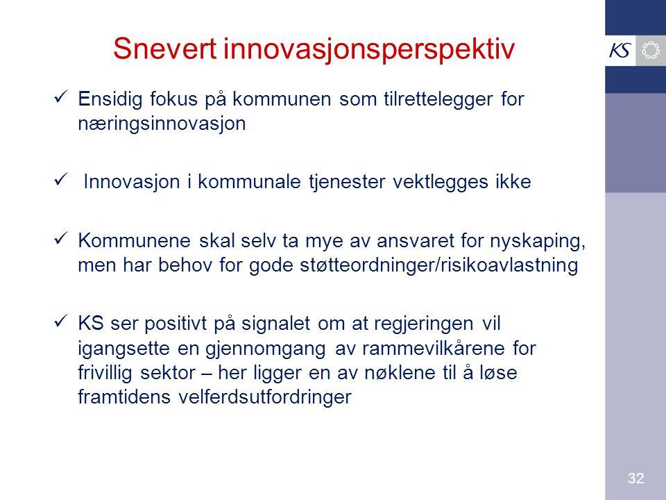 32 Snevert innovasjonsperspektiv Ensidig fokus på kommunen som tilrettelegger for næringsinnovasjon Innovasjon i kommunale tjenester vektlegges ikke Kommunene skal selv ta mye av ansvaret for nyskaping, men har behov for gode støtteordninger/risikoavlastning KS ser positivt på signalet om at regjeringen vil igangsette en gjennomgang av rammevilkårene for frivillig sektor – her ligger en av nøklene til å løse framtidens velferdsutfordringer