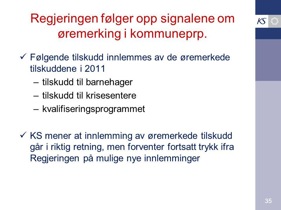 35 Regjeringen følger opp signalene om øremerking i kommuneprp.