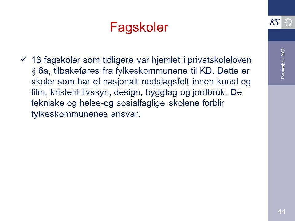 44 Presentasjon | 2003 Fagskoler 13 fagskoler som tidligere var hjemlet i privatskoleloven § 6a, tilbakeføres fra fylkeskommunene til KD.