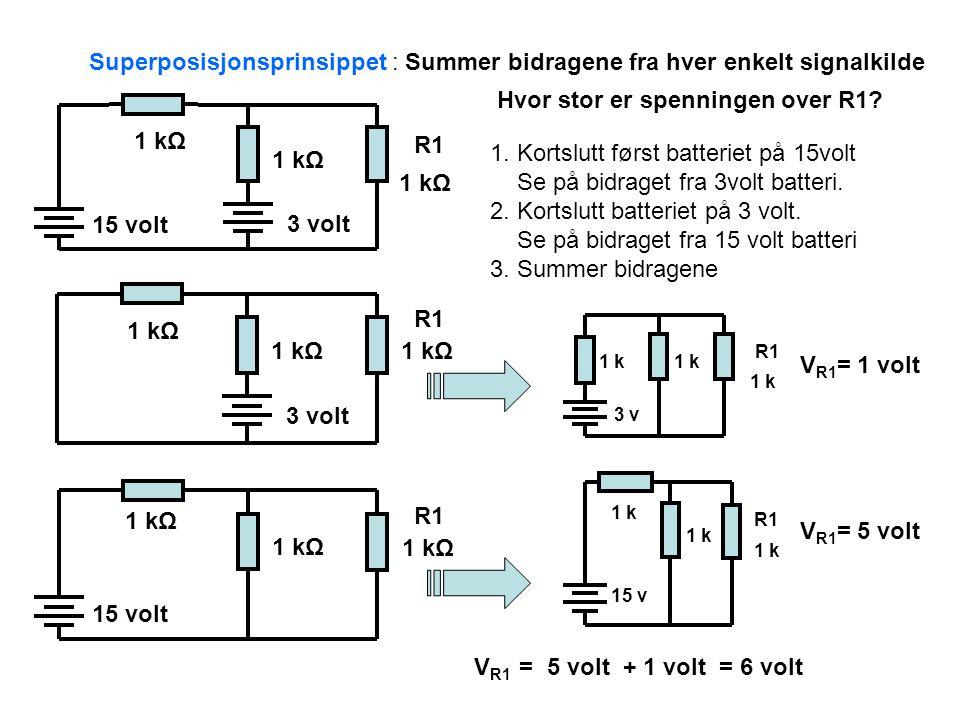15 volt 3 volt 1 kΩ 3 volt 1 kΩ 15 volt 1 kΩ Superposisjonsprinsippet : Summer bidragene fra hver enkelt signalkilde 1.