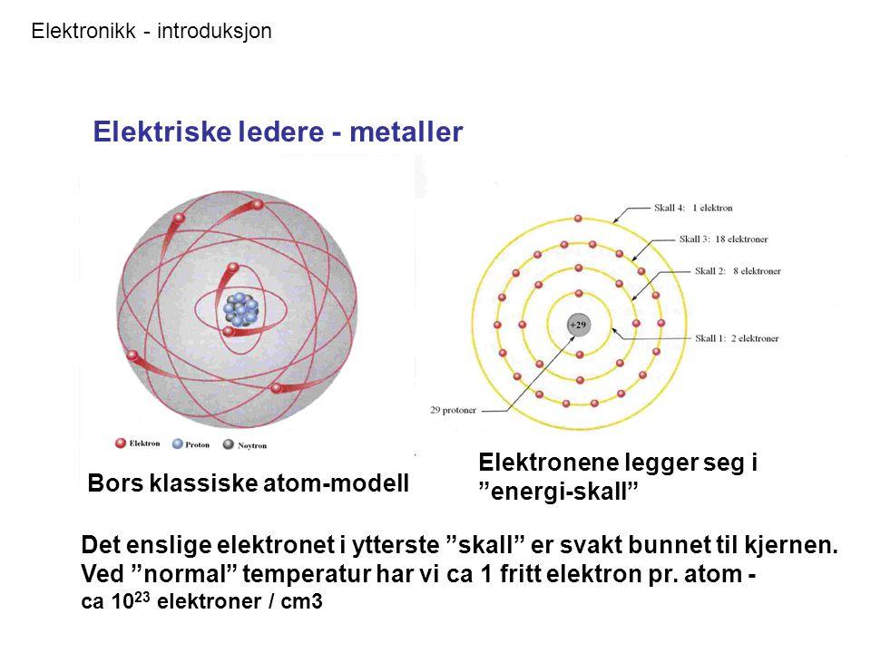 Elektronikk - introduksjon Elektriske ledere - metaller Bors klassiske atom-modell Elektronene legger seg i energi-skall Det enslige elektronet i ytterste skall er svakt bunnet til kjernen.