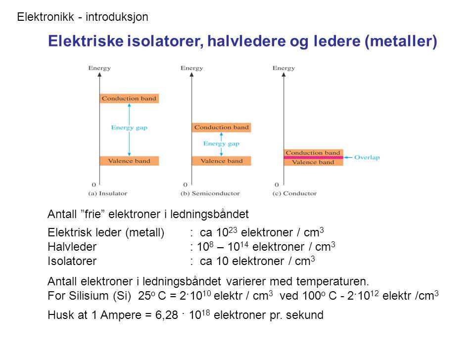 Elektronikk - introduksjon Elektriske isolatorer, halvledere og ledere (metaller) Husk at 1 Ampere = 6,28 · 10 18 elektroner pr.