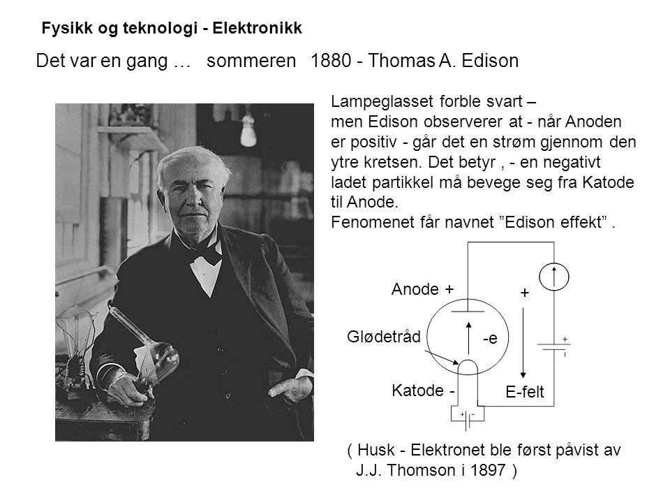 Fysikk og teknologi - Elektronikk Det var en gang … sommeren 1880 - Thomas A.