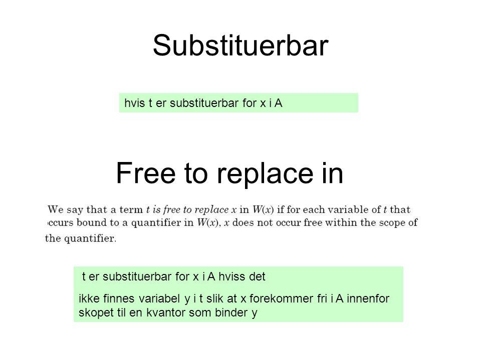 Substituerbar hvis t er substituerbar for x i A Free to replace in t er substituerbar for x i A hviss det ikke finnes variabel y i t slik at x forekommer fri i A innenfor skopet til en kvantor som binder y