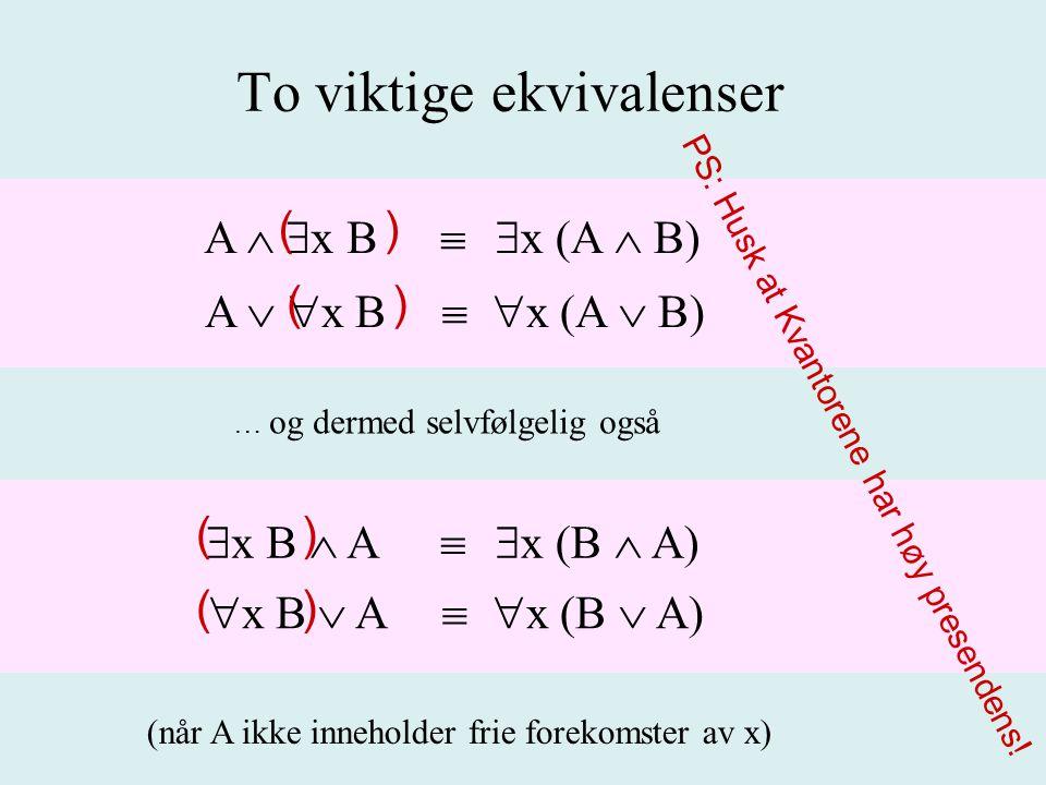 To viktige ekvivalenser A   x B  x (A  B) A   x B  x (A  B) (når A ikke inneholder frie forekomster av x) … og dermed selvfølgelig også  x B  A  x (B  A)  x B  A  x (B  A) ( ) PS: Husk at Kvantorene har høy presendens.