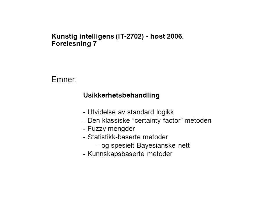 Kunstig intelligens (IT-2702) - høst 2006.