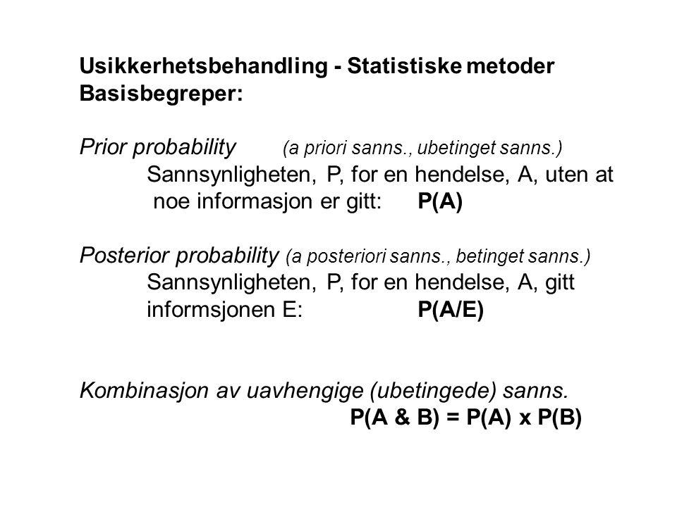 Usikkerhetsbehandling - Statistiske metoder Basisbegreper: Prior probability (a priori sanns., ubetinget sanns.) Sannsynligheten, P, for en hendelse, A, uten at noe informasjon er gitt:P(A) Posterior probability (a posteriori sanns., betinget sanns.) Sannsynligheten, P, for en hendelse, A, gitt informsjonen E:P(A/E) Kombinasjon av uavhengige (ubetingede) sanns.