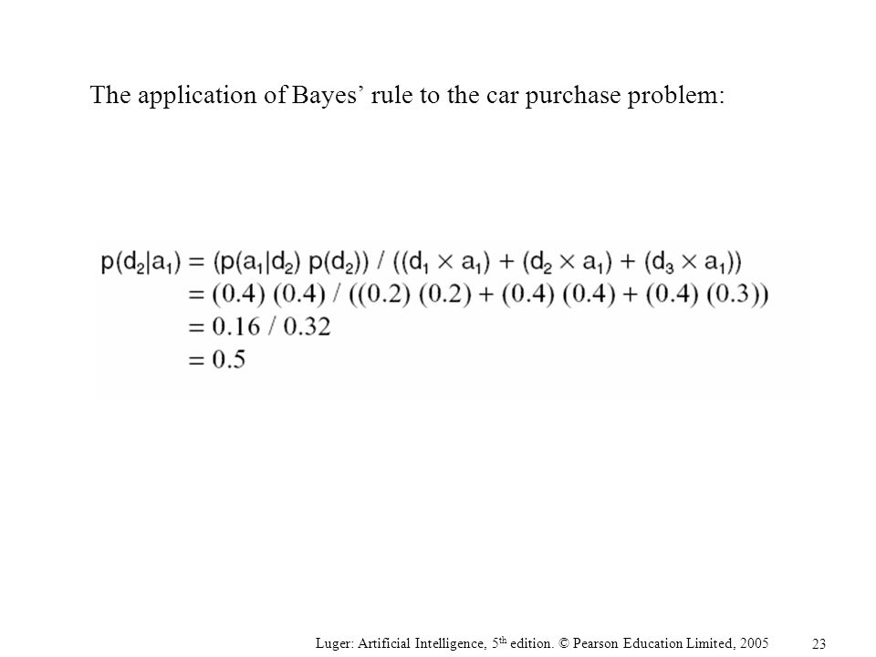 The application of Bayes' rule to the car purchase problem: Luger: Artificial Intelligence, 5 th edition. © Pearson Education Limited, 2005 23