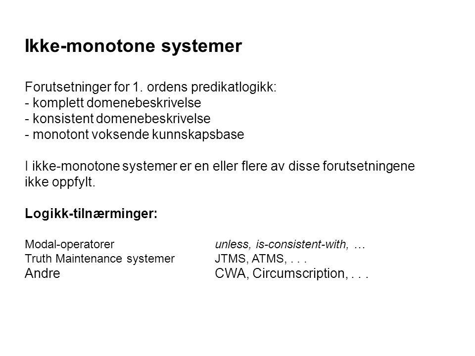 Ikke-monotone systemer Forutsetninger for 1.