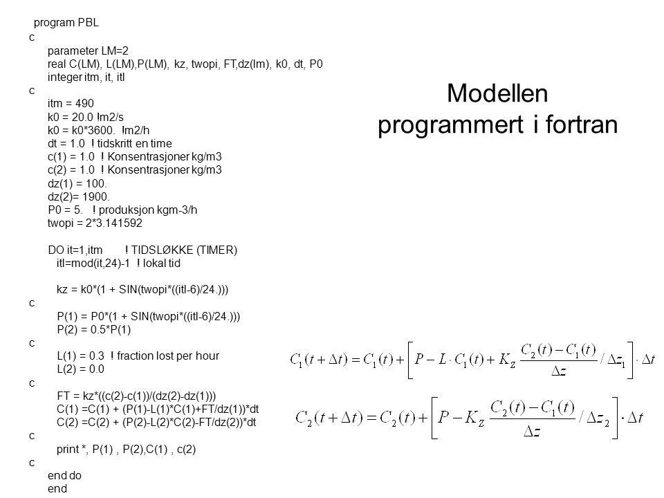 Modellen programmert i fortran program PBL c parameter LM=2 real C(LM), L(LM),P(LM), kz, twopi, FT,dz(lm), k0, dt, P0 integer itm, it, itl c itm = 490 k0 = 20.0 !m2/s k0 = k0*3600.