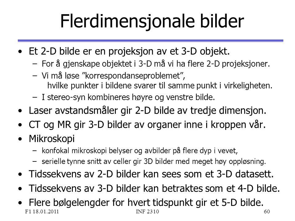 F1 18.01.2011INF 231060 Flerdimensjonale bilder Et 2-D bilde er en projeksjon av et 3-D objekt. –For å gjenskape objektet i 3-D må vi ha flere 2-D pro