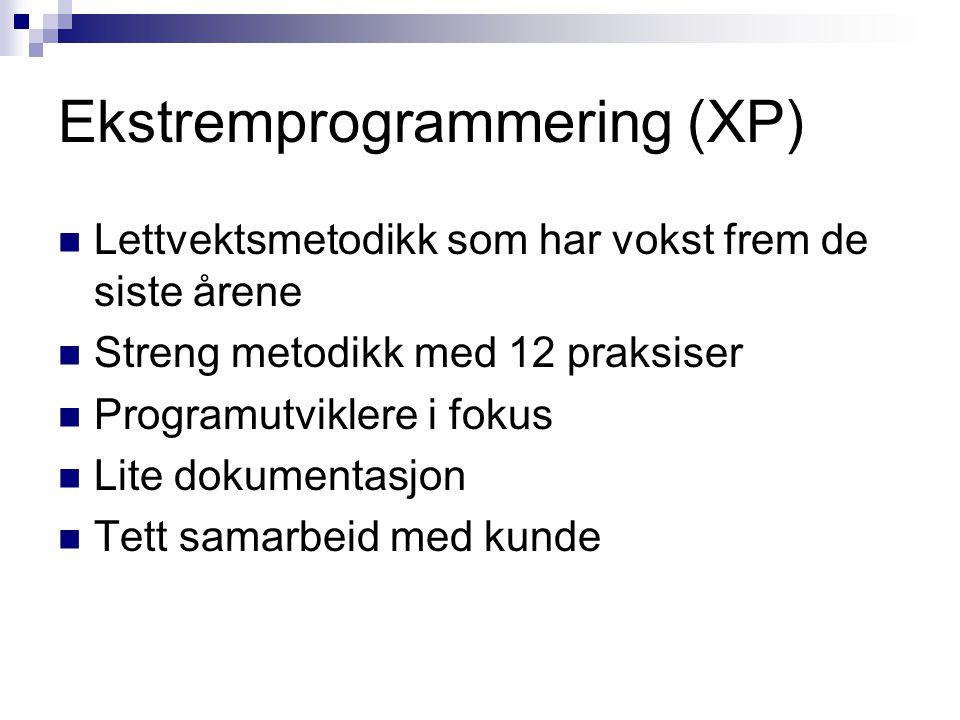Ekstremprogrammering (XP) Lettvektsmetodikk som har vokst frem de siste årene Streng metodikk med 12 praksiser Programutviklere i fokus Lite dokumenta
