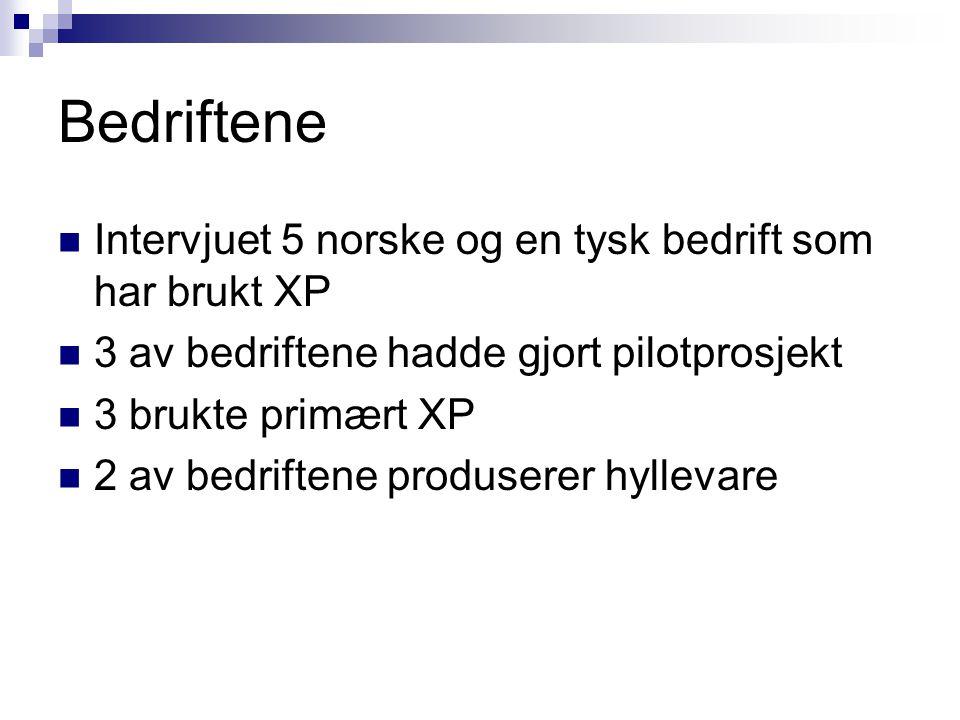 Bedriftene Intervjuet 5 norske og en tysk bedrift som har brukt XP 3 av bedriftene hadde gjort pilotprosjekt 3 brukte primært XP 2 av bedriftene produ