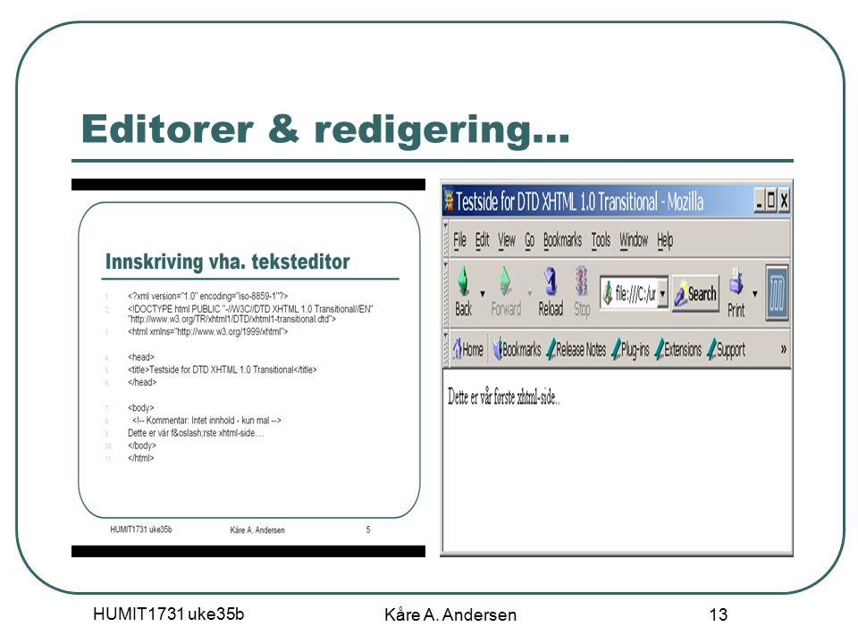 HUMIT1731 uke35b Kåre A. Andersen 13 Editorer & redigering…