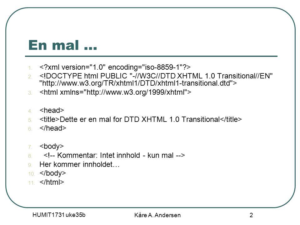HUMIT1731 uke35b Kåre A. Andersen 2 En mal … 1. 2.