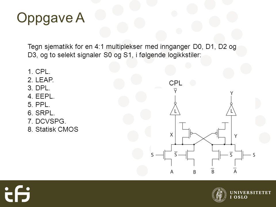 Oppgave A Tegn sjematikk for en 4:1 multiplekser med innganger D0, D1, D2 og D3, og to selekt signaler S0 og S1, i følgende logikkstiler: 1. CPL. 2. L