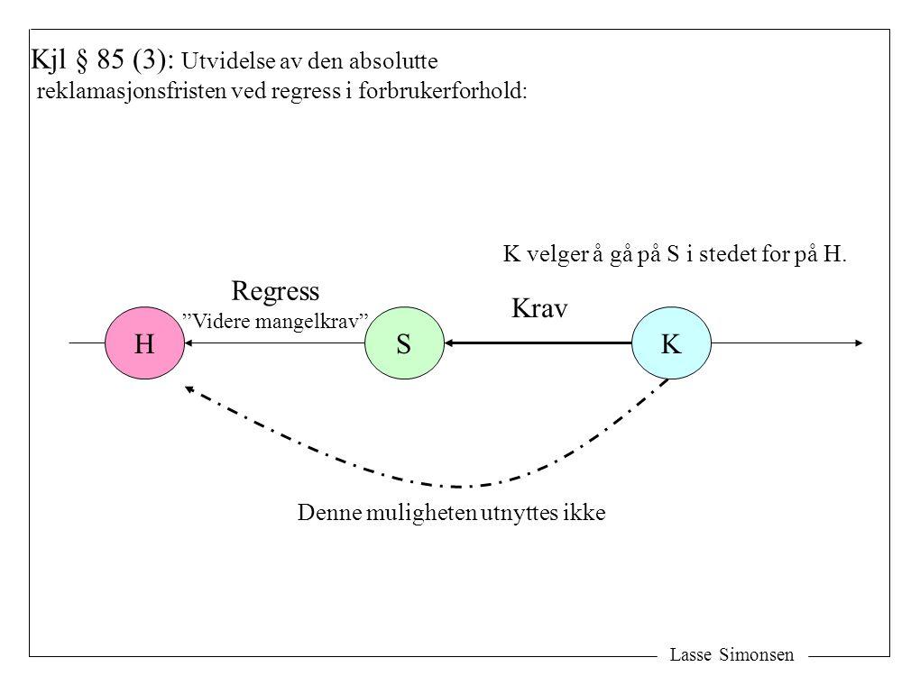 """Lasse Simonsen HSK Kjl § 85 (3): Utvidelse av den absolutte reklamasjonsfristen ved regress i forbrukerforhold: Krav Regress """"Videre mangelkrav"""" K vel"""