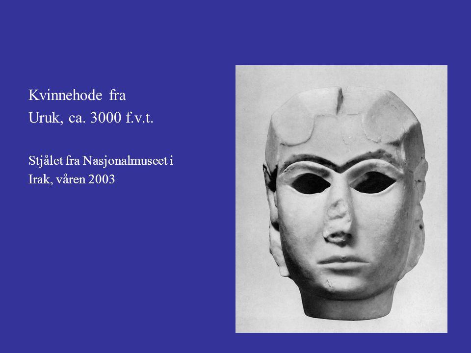 Kvinnehode fra Uruk, ca. 3000 f.v.t. Stjålet fra Nasjonalmuseet i Irak, våren 2003