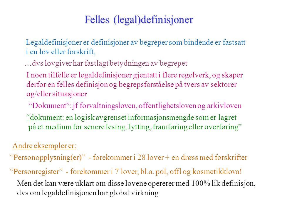 Felles (legal)definisjoner Legaldefinisjoner er definisjoner av begreper som bindende er fastsatt i en lov eller forskrift, …dvs lovgiver har fastlagt