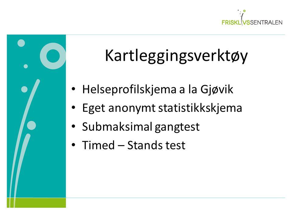 Kartleggingsverktøy Helseprofilskjema a la Gjøvik Eget anonymt statistikkskjema Submaksimal gangtest Timed – Stands test