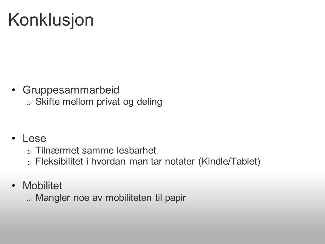 Konklusjon Gruppesammarbeid o Skifte mellom privat og deling Lese o Tilnærmet samme lesbarhet o Fleksibilitet i hvordan man tar notater (Kindle/Tablet) Mobilitet o Mangler noe av mobiliteten til papir