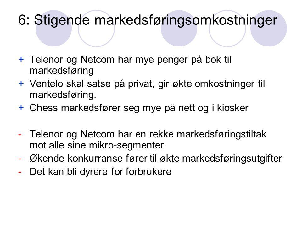 6: Stigende markedsføringsomkostninger +Telenor og Netcom har mye penger på bok til markedsføring +Ventelo skal satse på privat, gir økte omkostninger til markedsføring.