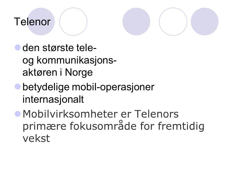 Telenor den største tele- og kommunikasjons- aktøren i Norge betydelige mobil-operasjoner internasjonalt Mobilvirksomheter er Telenors primære fokusområde for fremtidig vekst